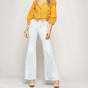 Free People Drapey A-Line Flared Pull-On Jeans 27
